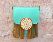 Fringe Leather Bag,Ethnic Leather Bag,Boho Fringe Bag,Crossbody Leather Bag,Hippie Purse,Gypsy Bag,Mandala Bag,Messanger Bag,-Blue/Brown Bag