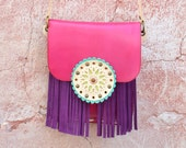 Crossbody Leather Bag,Fringe Leather Bag,Ethnic Leather Bag,Boho Fringe Bag,Hippie Bag, Gypsy Bag,Mandala Bag,Messanger Bag,-Pink/Purple Bag