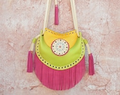 Boho Fringe Bag,Cossbody Leather Bag,Fringe Leather Bag,Ethnic Leather Bag,Gypsy Purse,Mandala Bag,Messenger Bag,Hippie,Yellow,Green, Pink
