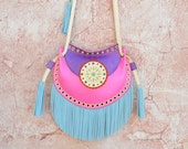 Crossbody Leather Bag,Fringe Leather Bag,Ethnic Leather Bag,Boho Fringe Bag,Gypsy Purse,Mandala Bag,Messenger Bag,Hippie,Purple,Fuchsia,Blue