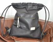 Black Leather Backpack,Leather Sack Bag,Sack Backpack,Large Backpack,Leather Purse,Leather Bag,Unisex,Men,Woman,Sport,Boho,Hipster,Festival