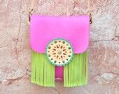 Ethnic Leather Bag,Fringe Leather Bag,Crossover Leather Bag,Boho Fringe Bag,Gypsy Purse,Mandala Bag,Messenger Bag,Pink Bag,Green Bag,Purse