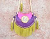 Fringe Leather Bag,Ethnic Leather Bag,Boho Fringe Bag,Cossbody Leather Bag,Gypsy Purse,Mandala Bag,Messenger Bag//Fuchsia, Purple, Yellow