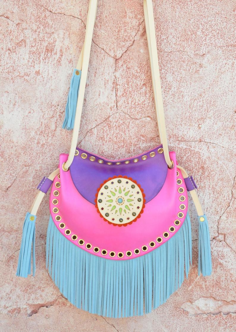 Crossbody Leather Bag,Fringe Leather Bag,Ethnic Leather Bag,Boho Fringe Bag,Gypsy Purse,Mandala Bag,Messenger Bag,Hippie,Purple,Fuchsia,Blue