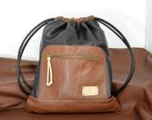 Brown Leather Backpack,Leather Sack Bag,Sack Backpack,Large Rucksack,Leather Purse,Leather bag,Unisex,Men,Woman,Sport