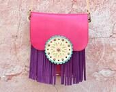Crossbody Leather Bag,Fringe Leather Bag,Ethnic Leather Bag,Boho Fringe Bag,Hippie Bag, Gypsy Bag,Mandala Bag,Messanger Bag,-Pink/Purple Bag