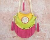 Boho Fringe Bag,Cossbody Leather Bag,Fringe Leather Bag,Ethnic Leather Bag,Gypsy Purse,Mandala Bag,Messenger Bag,Hippie,Yellow,Green, Pink