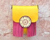 Boho Fringe Bag,Crossbody Leather Bag,Fringe Leather Bag,Ethnic Leather Bag,Hippie Bag,Gypsy Purse,Mandala Bag,Messenger Bag-Yellow/Pink Bag