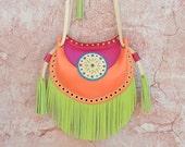 Ethnic Leather Bag,Fringe Leather Bag,Cossbody Leather Bag,Boho Fringe Bag,Gypsy Purse,Mandala Bag,Messenger Bag,Fuchsia Orange Pistachio