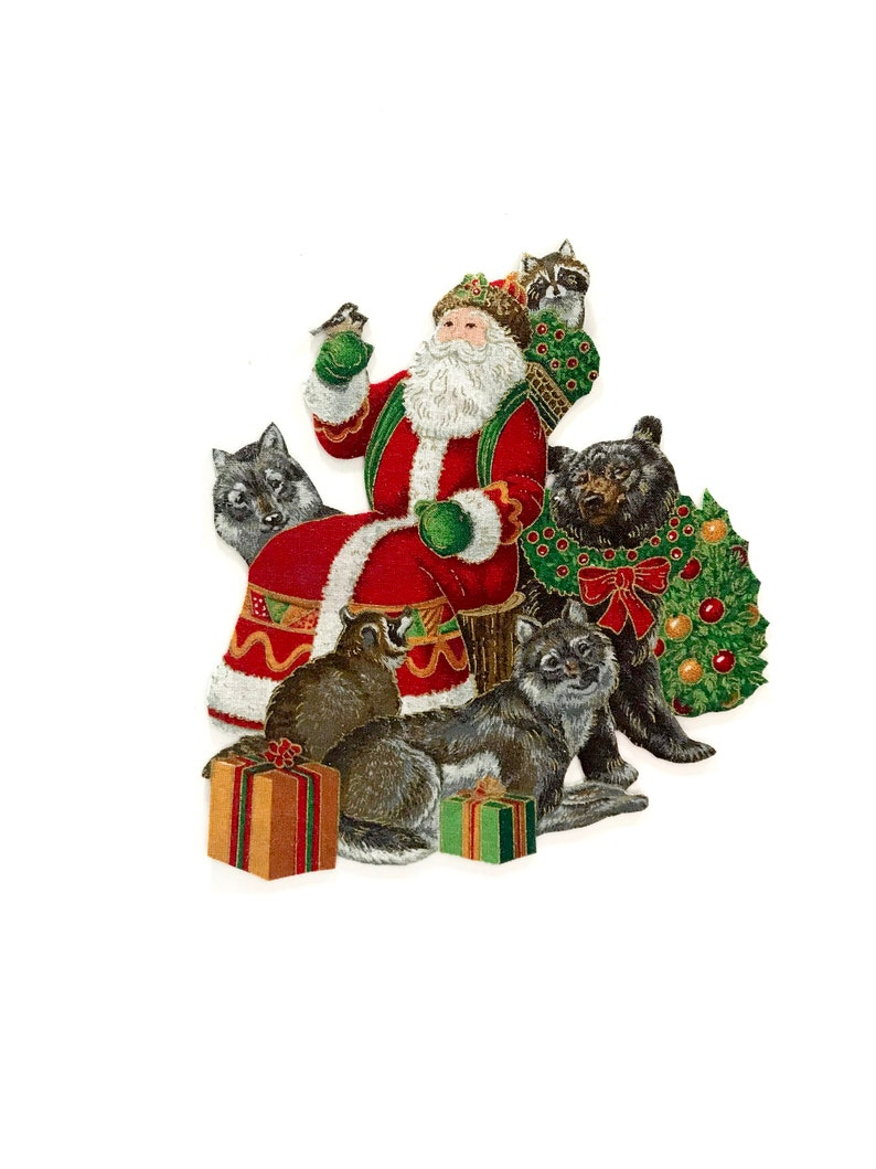 Merry Christmas Animals.Christmas Animals Magnets Santa Claus Santa Christmas Magnet Christmas Decor Merry Christmas Forest Animals Christmas Forest Forest