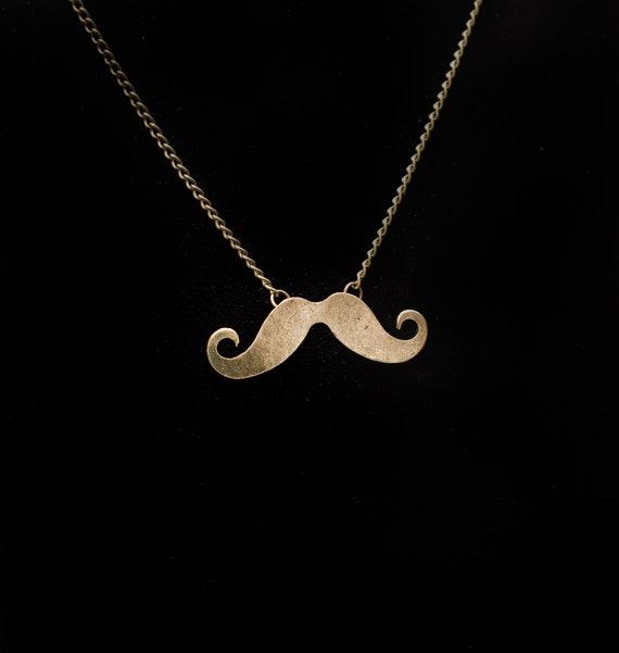"""MUSTACHE NECKLACE 2/"""" Black Enamel Charm Pendant 27/"""" Chain Handlebar Moustache"""