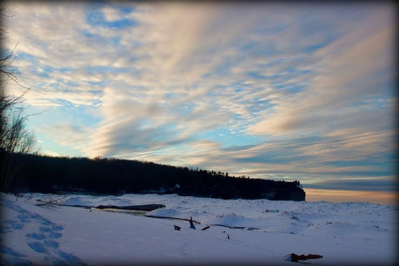 Wintry Sunset Along Lake Superior 8x10 print or made to order canvas in two  different sizes, Upper Peninsula, Michigan, Pictured Rocks