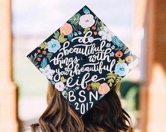 Handpainted Custom Graduation Cap, Graduation Cap, Personalized Graduation Cap, Graduation Topper