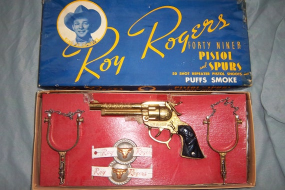 Roy Rogers Boxed Gold Toy Forty Niner w/ spur set cap gun pistol smoker-Wow A great gift!
