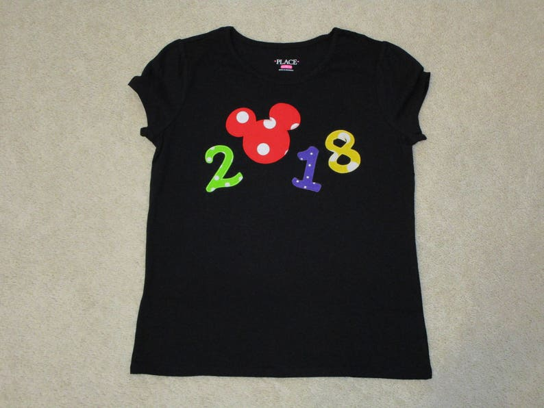 a115f49e4acfd Mickey Mouse NEW YEAR's 2018 Custom Boutique T SHIRT Tee APPlilque Head EArs