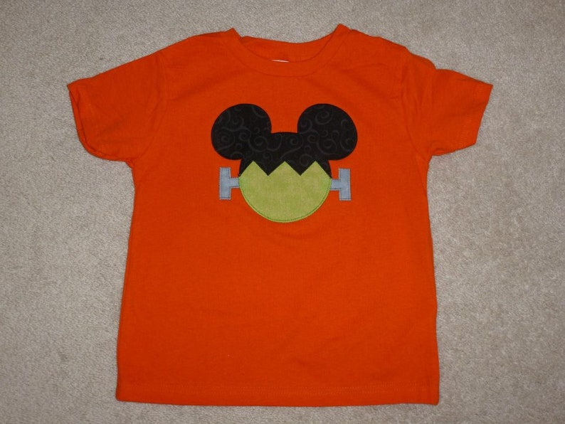 c3625a02bd9fc MiCKeY MouSe Frankenstein HALLOWEEN Custom Boutique T SHIRT Tee Holiday  Vacation Head Ears