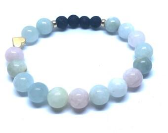 Healing Energy - past trauma/ Diffuser Bracelet /Essential Oil  Bracelet/ Aromatherapy/ Morganite bracelet/ Releases Anxiety