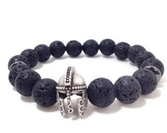 Warrior Lava Rock Diffuser Bracelets / Healing Bracelet / Diffuser Bracelet for Essential Oils / Volcanic Bracelet / Spartan - Vicking brace
