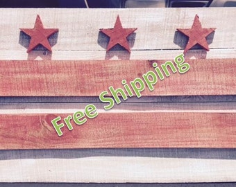 Rustic Washington DC Flag Constructed From Reclaimed/Repurposed Wood (Free Shipping)