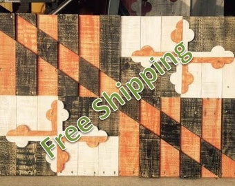 Rustic Maryland Flag (In Baltimore Baseball Colors) Constructed from Reclaimed/Repurposed Wood (FREE SHIPPING)