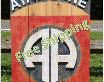 Rustic 82nd Airborne Patch and Tab Constructed from Reclaimed/Repurposed Wood (Free Shipping)
