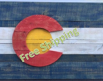 Rustic Colorado Flag Constructed From Reclaimed/Repurposed Wood (Free Shipping)