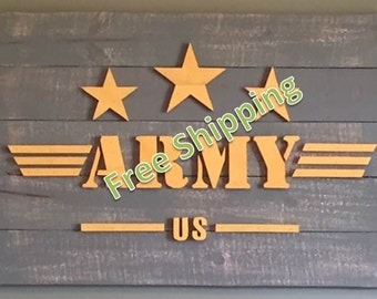Rustic Army Flag Constructed from Reclaimed/Repurposed Wood (Free Shipping)