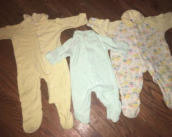 Vintage Lot/3 1970s Yellow Green Circus Pajama Footies Size 0-12 months