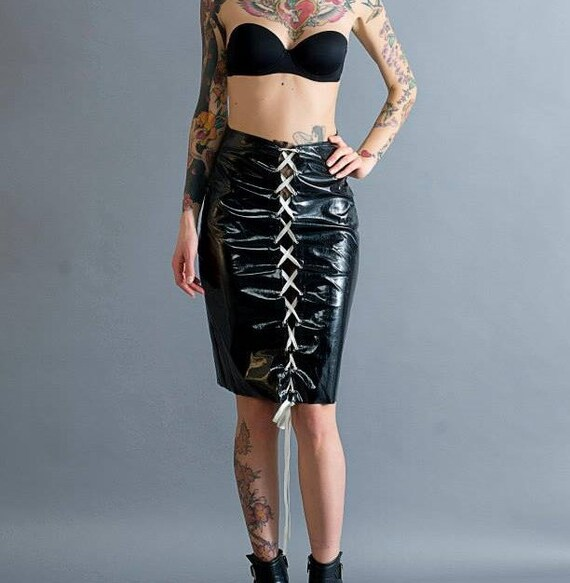 gothic and pvc string Long lace in skirt skirt corset latex with fetish 4wq8g