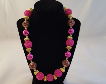 Pink & Gold Bling Chunky Necklace - Pink Chunky Necklace - Pink Necklace - Chunky Necklace - Gold Necklace - Pink Jewelry - Gold Jewelry