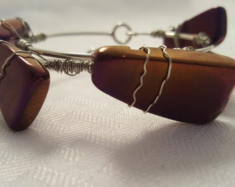 Metallic Purple Stone Bangle - Stone Bangle - Wire Wrapped Bangle - Wire Wrap - Purple Bangle - Purple Stone Bangle - Purple Stone Bangles