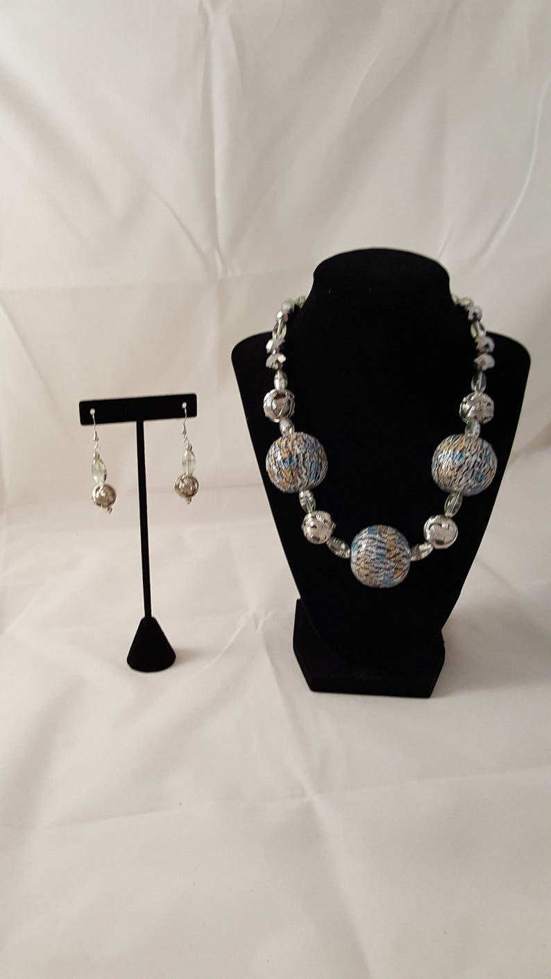 Sphere Necklace Silver Earrings Chunky Round Silver /& Clear Jewelry Set Chunky Earrings Silver Chunky Necklace Silver Necklace