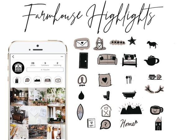 Home Instagram Story Highlight Icons Covers Interior Design Airbnb Real Estate Farmhouse Rustic Black White Tan Set Of 25