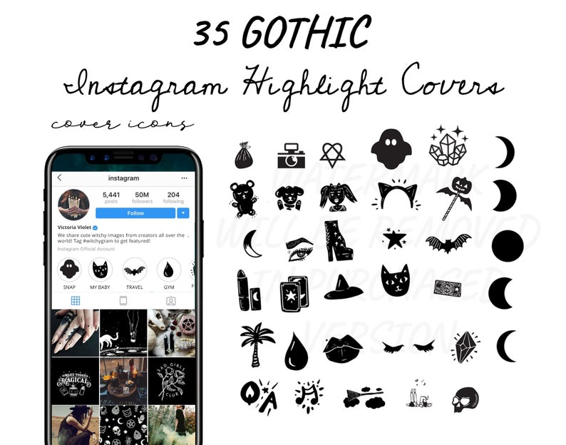 Gothic Instagram Story Highlight Icons Covers - Witchy Alternative Goth  Gothic Aesthetic Lifestyle Instagram Cover Icon Collection