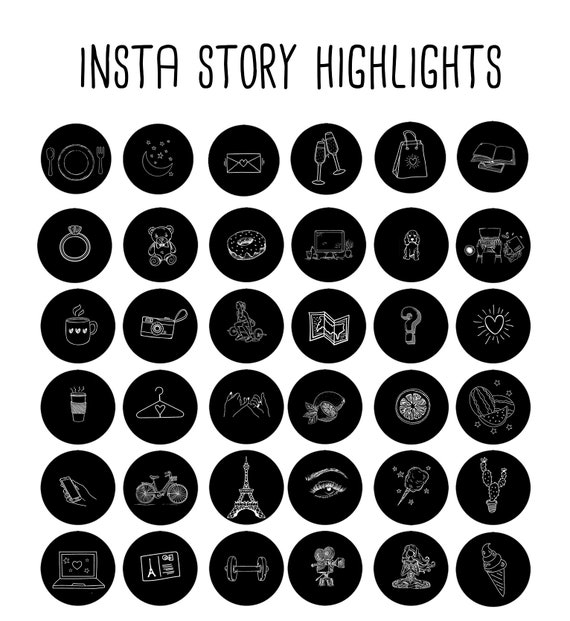200 Instagram Story Highlights Icons Covers Black And Etsy