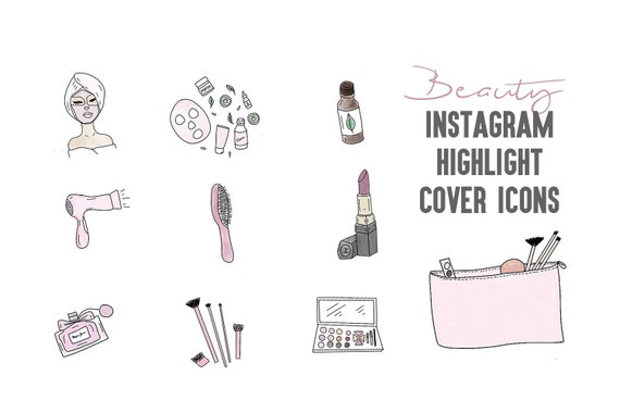 10 Beauty Instagram Story Highlight Icons Covers Makeup Hair Lashes Brows Black And White Add On Pack