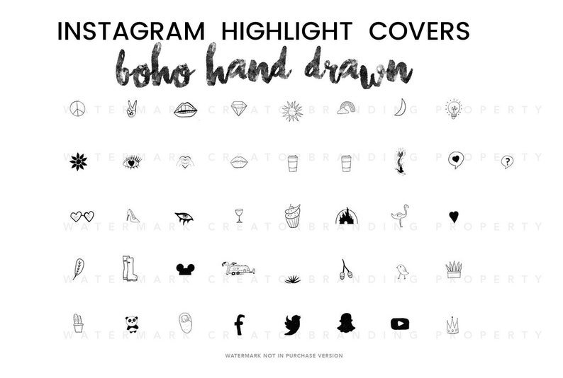 40 Instagram Story Highlight Cover Icons | Black and White | Chic Boho Cute  Icons | Hand Drawn Instagram Highlights