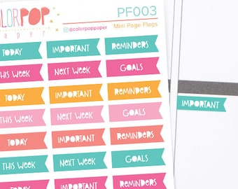 Mini Page Flag Stickers, Mini Page Flag Planner Stickers, Page Flags - PF003