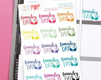 Laundry Day Planner Stickers, Laundry Stickers, Laundry Day, Laundry Day Typography - ICN020