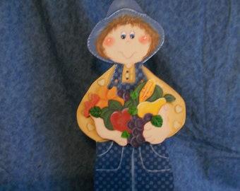 Harvest Boy Wood Country Figurine