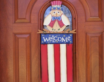 Patriotic Owl Door Hanging