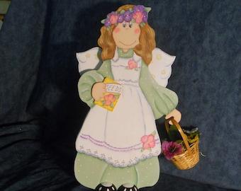 Spring Garden Angel Wood Figurine