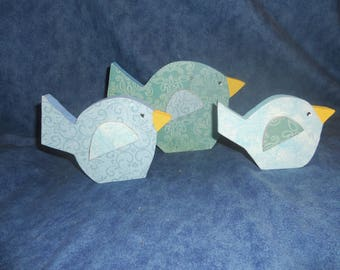 Wooden Bird Shelf Sitters