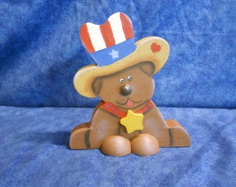 Patriotic Puppy Dog Wood Figurine
