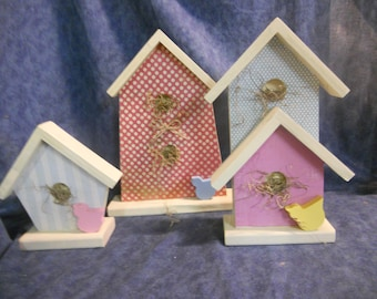 Country Wood Birdhouse Shelf Sitters