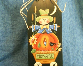 Fall Scarecrow and Pumpkin Plaque