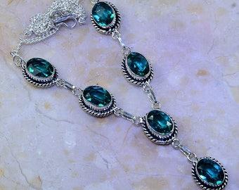 "Blue Topaz Sterling Silver Necklace 19"" Princess Style"