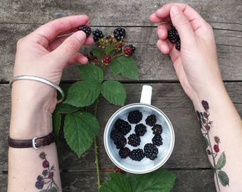 Tree / Woodland themed Temporary Tattoos by Alice Draws The Line;adorn yourself in illustration; blackberries, Rowan, Hawthorn, Elder & Elm