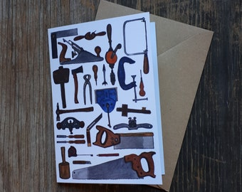 Carpentry Card by Alice Draws The Line featuring a range of traditional hand tools for woodworking, blank inside, suitable for any occasion