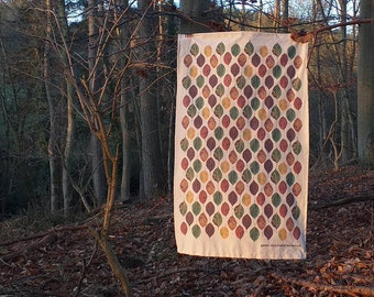 Beech Leaf Tea Towel by Alice Draws The Line shop unbleached organic cotton tea towel with beach leaves in their autumn rainbow of colours